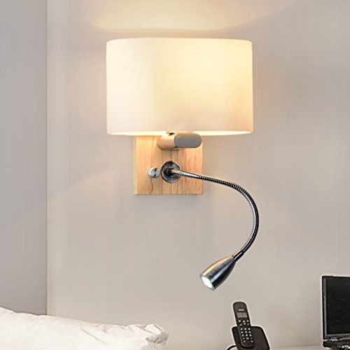 LED-Massivholz-Wand-Lampe, Schlafzimmer-Nachttischlampe, Glas-Lampenschirm mit 1W-Schlauch-Leselampe, Treppenhaus-dekorative Lichter