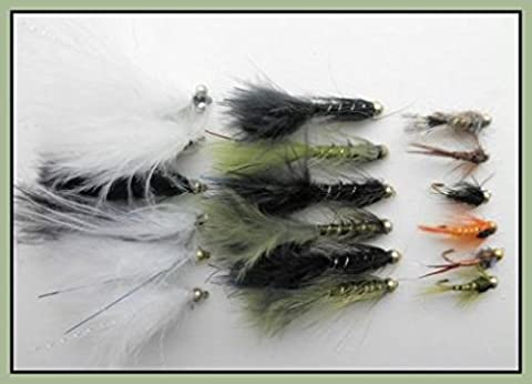 18 Gold Bead Trout Flies, Flash Damsel, Cats Whisker & Mixed Nymphs. Size 10