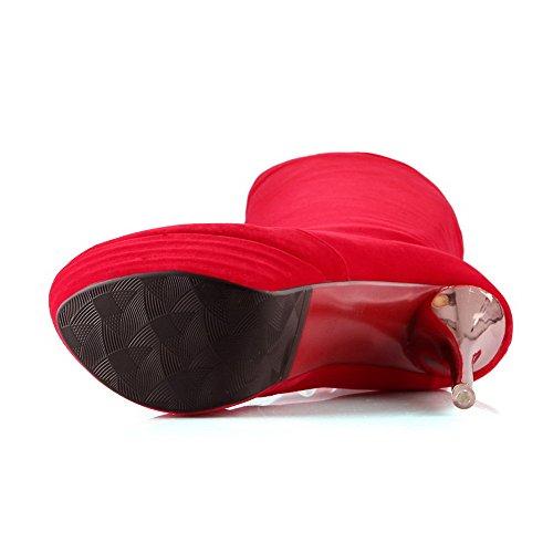 VogueZone009 Donna Punta Tonda Pelle Di Mucca Puro Alta Altezza Tacco Alto Stivali Rosso
