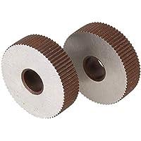Moleteado 2pcs Fuerza moleta de ruedas de engranaje 0,6 mm Placa de cocción de grano recto HSS moleta Máquina Herramienta Accesorios Torno de grabación en relieve de ruedas Torno de metal