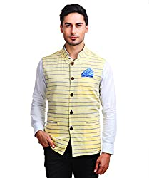 Chokore Mens Reversible Yellow with Blue Stripes/Blue Cotton Nehru Jacket