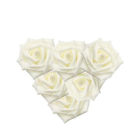 50pcs en mousse colorée roses fleurs inaltérable Fleur artificielle Bouquet de mariée mariage fête Rose Fleurs Home Decor ivoire