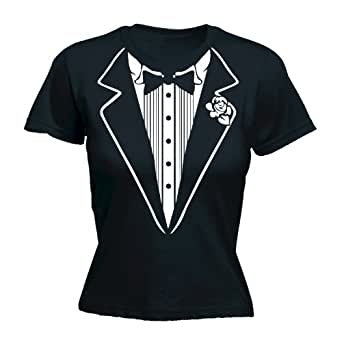 LADIES TUXEDO (S - BLACK) NEW PREMIUM FITTED T SHIRT - Slogan Funny Clothing Joke Novelty Vintage retro top Ladies Lady Womens Girl tshirt Tees Tee t-shirts shirts Fashion Urban Cool geek fancy dress 80s 80 outfit stag hen do party bow tie wedding groom bride bachelor work suit top coat jacket Birthday Christmas Present S M L XL 2XL - by Fonfella