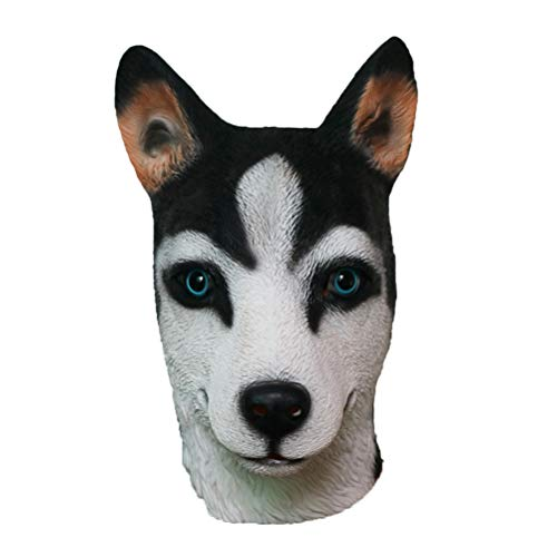 BESTOYARD Neuheit Halloween Super Bowl Underdog Kostüm Party Latex Tier Hund Kopf Maske (Husky)