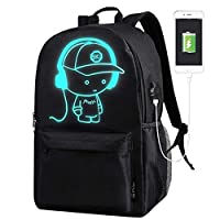 School Bags, ICETEK Anime Luminous Backpack Canvas Shoulder Daypack Boy Rucksack with USB Cable and Lock and Pencil Bag for Teens Girls Boys (Black)