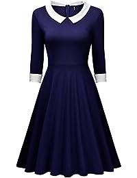 Miusol® Damen Abendkleid Knielang 1/2 Arm Rundhals Vintage 50er Kleid Rockabilly Festlich Kleider Blau Gr.36-46