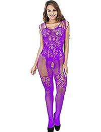 Moonuy   Femme Lingerie sous-vêtement Fishnet Combinaison Fesse Ouvert Bodysuit  Vêtements de Nuit Dos ab481def220