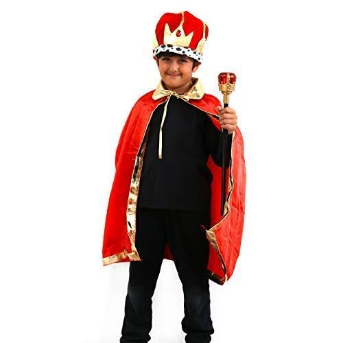 By Robelli 3 Tlg Kinder Plüsch Rot/Gold Kostüm Krone +Umhang+Zepter Satz (Krone Und Zepter Kostüm)