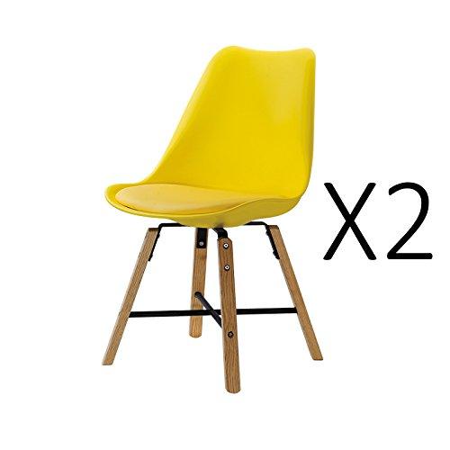 2Stück Stühle Skandinavisches Design Trend Nordic Untergestell Holz-Eiche natur und Sitzfläche aus Kunststoff PP Polypropylen 49x 45x H84cm gelb (Stück Stuhl Eiche 2)