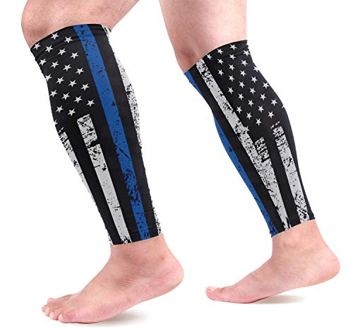 dfegyfr Thin Blue Line Flag Police USA Sports Calf Compression Sleeves Leg Compression Calf Sleeve for Runners Men Women (1 Pair)