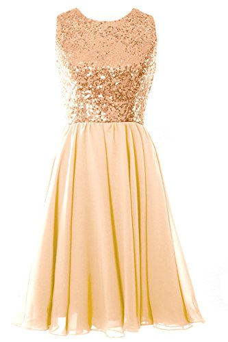 MACloth Women O Neck Short Bridesmaid Dress Sequin Chiffon Cocktail Evening Gown Rose Gold-Champagne