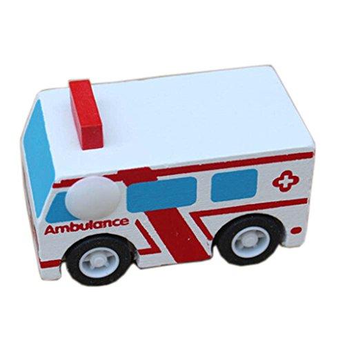 1 PC mini Rückzugs Auto Holz Fahrzeug Babyspielzeugmodelle, Krankenwagen