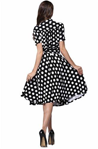 JOTHIN 2017 Nouvelle Femmes Polka Dot Robe Col Claudine Taille Haute Manche Courte Retro Taille Grands Mince des Robe de Grand Swing Robe Tutu Noir