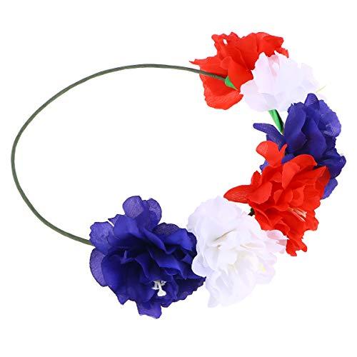 Blumen Stirnband Kopfschmuck Simulation Blumengirlande Krone Kranz für Festival Party Holidays (Rot Weiß Blau)