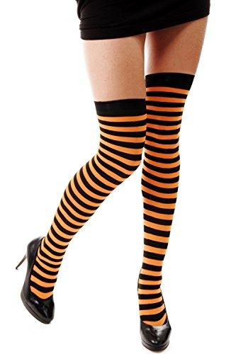 e Damenstrümpfe Overknees Schwarz Orange Gestreift Geringelt Ringelstrümpfe Karneval Z161 (Halloween Strumpfe)