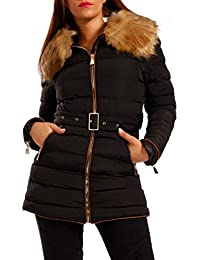 Young-Fashion Women's Parka Jacket With Faux Fur Collar
