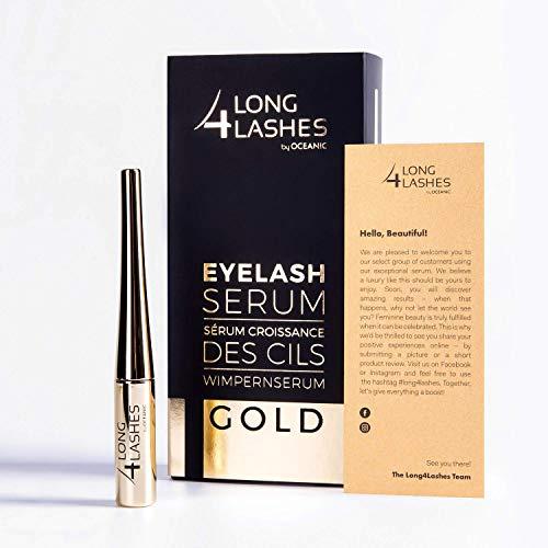 Long4Lashes GOLD 4 ml - Neues Exclusives Wimpernserum, hohe Kapazität - Serum der Superlative -steigert das Wimpernwachstum mit einen Kraftpaket aus pflanzlichen Zutaten   Superstar Formel 4 ml