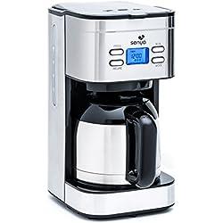 Senya cafetière électrique programmable Inox Hot Coffee, verseuse isotherme en acier inoxydable, fonction sélecteur d'arôme, maintien au chaud, 1,2L, 800W, SYBF-CM025