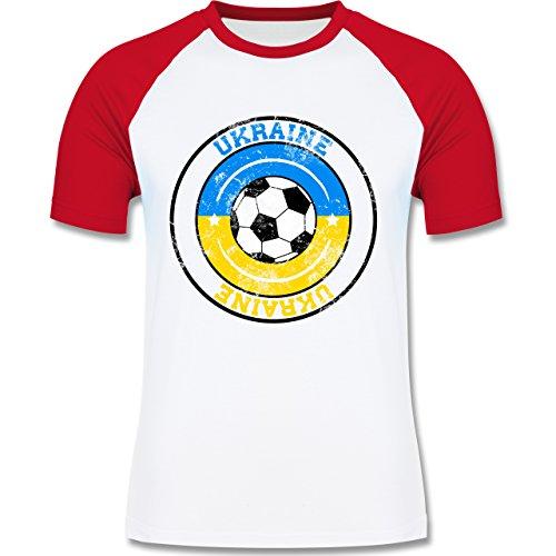 EM 2016 - Frankreich - Ukraine Kreis & Fußball Vintage - zweifarbiges Baseballshirt für Männer Weiß/Rot