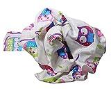 Clevere Kids Mulltücher 3er-Pack bedruckt Mullwindeln Öko-Tex (Eule lila)