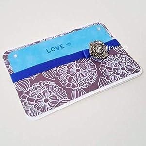 Love Greetings Card Silver Flower Brooch Grusskarte Liebe