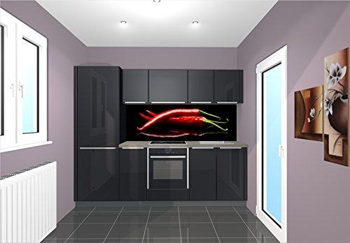 Küchenrückwand / Nischenverkleidung 180x55cm (BxH) Motiv: Red Chilli Peppers