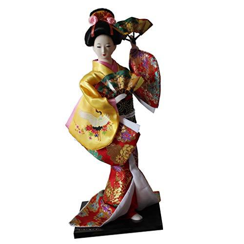 Fenteer 12 Zoll Traditionelle Japanische Geisha Puppe mit Kimono Outfit Dekofigur Sammfigur Handwerk Dekoration - Gelb