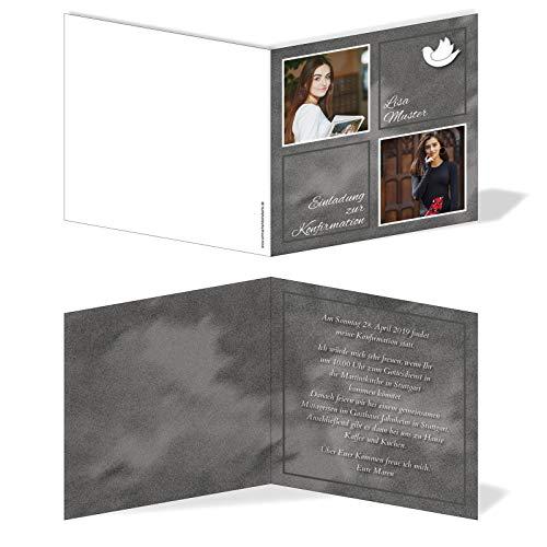 Einladung Einladungskarte Konfirmation Bilder Quadrat Schwarz
