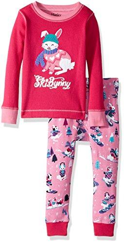 Sleeve Waffle Appliqué Pyjama Sets Zweiteiliger Schlafanzug, Rot (Winter Sports Bunnies 600), 8 Jahre ()