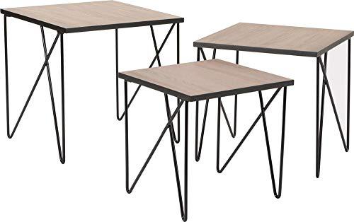 Amadeus Tables gigognes en métal Esprit Industriel (Lot de 3)
