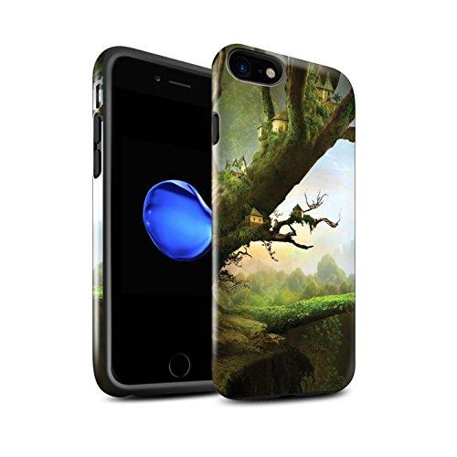 Officiel Elena Dudina Coque / Brillant Robuste Antichoc Etui pour Apple iPhone 8 / Nuit Bateau Voyage Design / Fantaisie Paysage Collection Ville dans Arbres