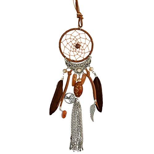 MagiDeal Colgante Collar Largo Accesorio de Boda Atrapasueños Accesorio para Novía - marrón