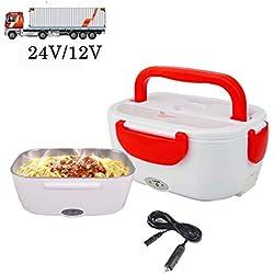 H-piano Boîte Chauffante 24V 12V Lunch Box Chauffante Électrique Boîte Alimentaires Boîte Repas en Acier Inoxydable pour Voiture - 2 en 1 conception