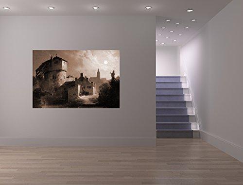 Vlies Fototapete Carl Spitzweg - Alte Meister - Mondschein über dem Dorf - sephia - sepia - 90x60...