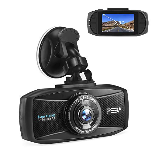 Dash Cam Telecamera per Auto Full HD 1296P PEBA Auto Video Recorder Visione Notturna Lenti, G-Sensor, registrazione in loop, Monitor di parcheggio, Rilevatore di Movimento 2,7 LCD