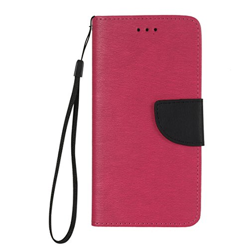 iPhone 7 Plus Coque, Voguecase Étui en cuir synthétique chic avec fonction support pratique pour Apple iPhone 7 Plus 5.5 (Bleu/Noir)de Gratuit stylet l'écran aléatoire universelle Rose/Noir