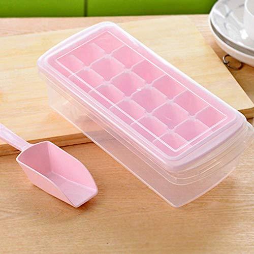 Eis Gussform 12/18 Gitter Hersteller mit Schaufel für Gefrierschrank DIY Aufbewahrungsschachtel Nicht Klebend Ungiftig Deckel Rechteckig Einfach Raus Geruchslos (Pink) - Rosa, free size