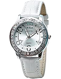 Skone 9243-1 Analog White Dial Leather Strap Wrist Watch / Casual Watch - For Women