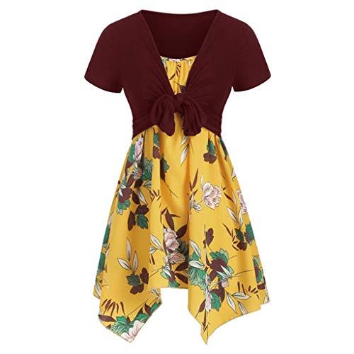 Binggong Kleider Damen Vintage Druck Sommerkleider Party Strand Blumenkleid Sommerkleid Two-Piece Set