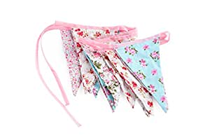 Vintage Style Shabby Chic Country Garden Cotton Fabric Bunting