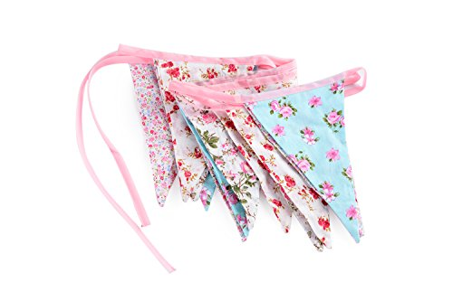 hop Handmade Tea Party BUNTING Vintage Style Fabric Floral & Gingham Weddings ()