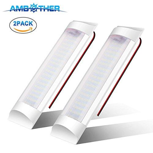 LED Innenleuchte, AMBOTHER Innenbeleuchtung Deckenbeleuchtung Deckenleuchte RV Auto Innenraumbeleuchtung Universal mit Schalter + 2 Meter Anschlusskabel Weiß Licht 10W DC12V 80V