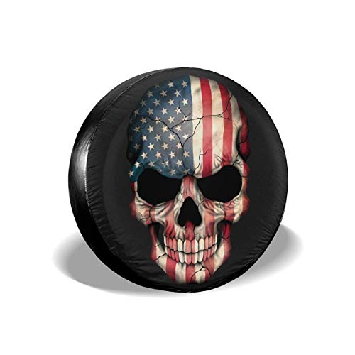 Vinyl Rim Guard (best& American Flag Skull Polyester Universal Spare Wheel Tire Cover Wheel Covers Jeep Trailer Rv SUV Truck Camper Travel Trailer Accessories 14 Inch)