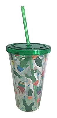 Cactus Design Plastic Double Walled Cup with Straw and Lid