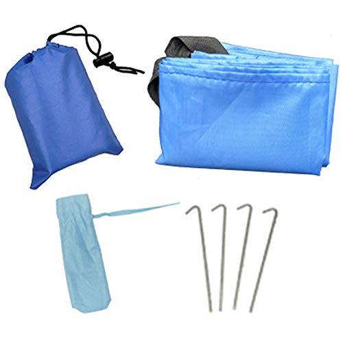 Amasawa 150 * 165 cm Outdoor Camping Picknick Decke Mini Klappmatte Portable mit 4 Zeltstöpsel für Park BBQ, Strand, Reisen, Camping und Picknick (Blau)