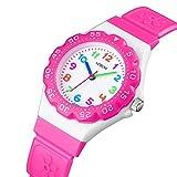 VDSOW Montre analogue de quartz de filles, montres de professeur de temps d'enfants imperméable, Montres bracelet pour fille de sports de plein air d'enfants roses avec la boussole rotative