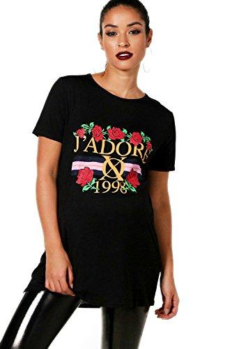 Noir Femmes T-Shirt de Maternité imprimé Floral J'adore Ella Noir