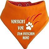 KLEINER FRATZ Gestreiftes Hunde Wende- Halstuch (Fb: Orange-Fuchsia) (Gr.1 - HU 27-30 cm) Vorsicht vor Dem Bisschen Hund