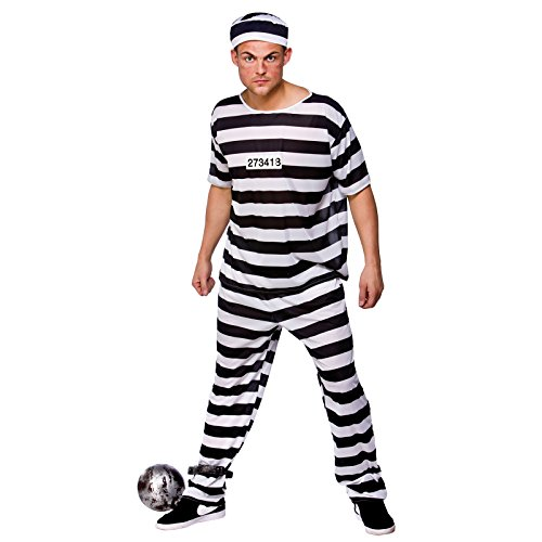 Ausbrecher Sträfling Gefangener Halloween Männer Verkleidung Karneval Kostüm (Gefangener Männer Halloween Kostüme)