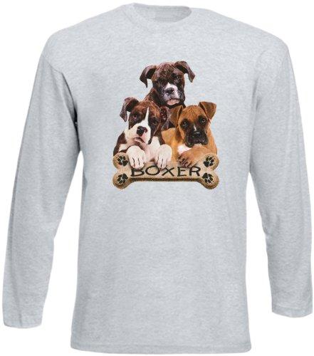Herren Langarm-Shirt ::: Boxer ::: für Hundeliebhaber Grau